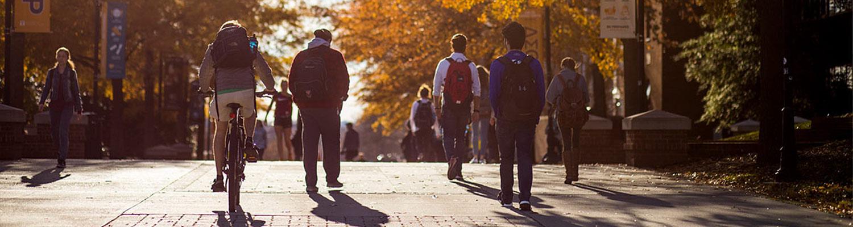 Students walk down Pedestrian Walkway