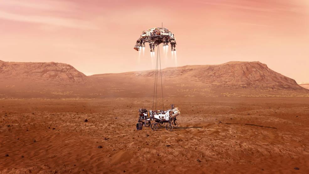 Illustration of NASA's Perseverance Mars rover landing